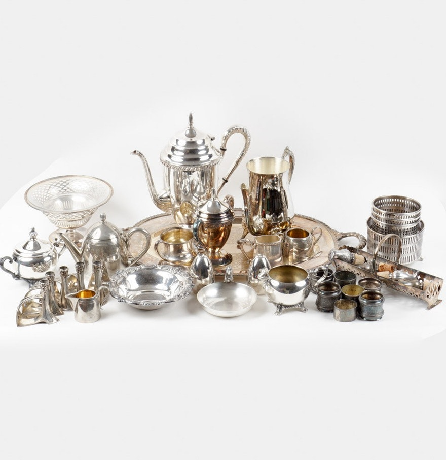 Assorted Silver Plate Serving Pieces Featuring Dansk