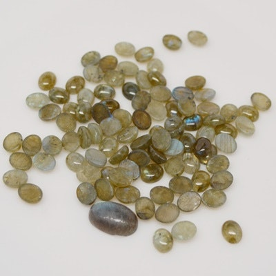 Collection of 195.68 CTW Natural Labradorite Feldspar Gemstones