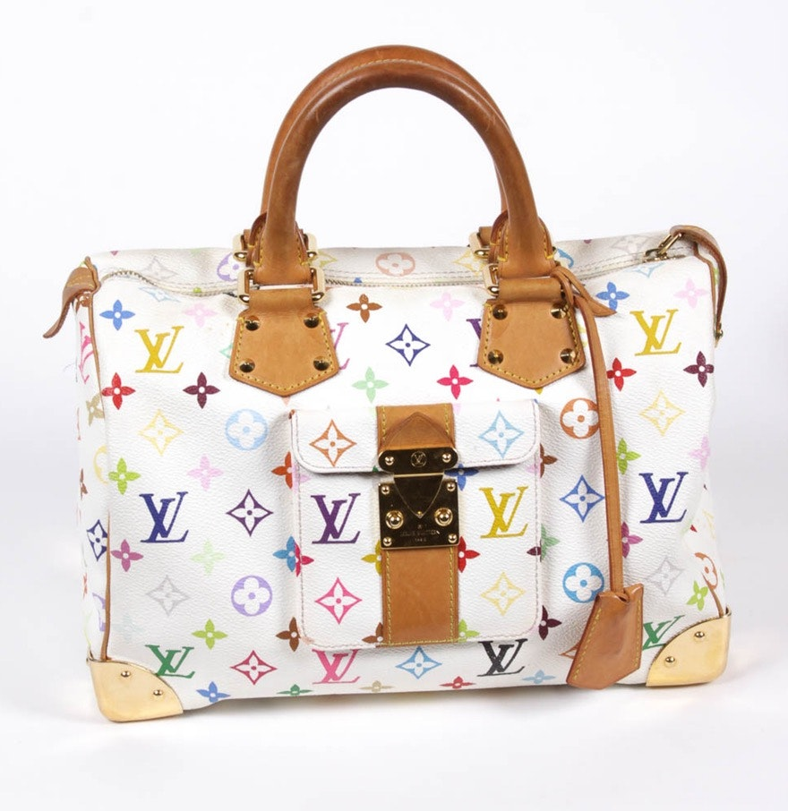 Louis Vuitton White Monogram Multicolore Speedy 30 Handbag