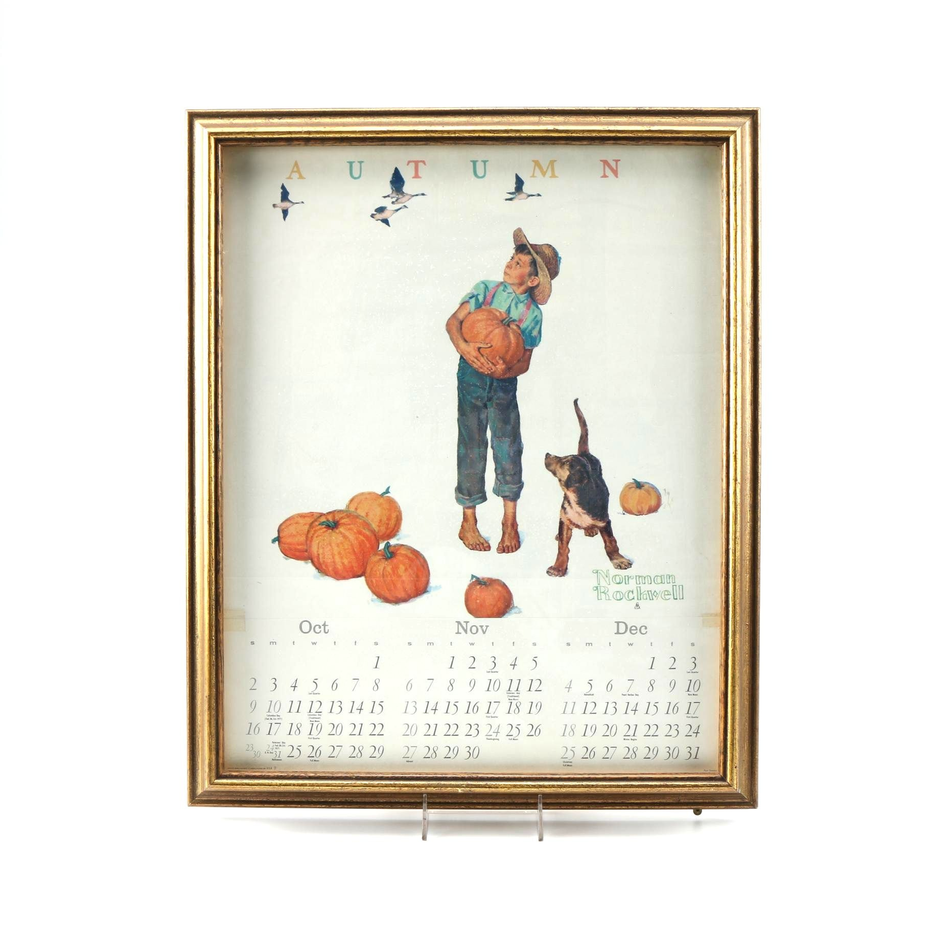Framed Norman Rockwell Calendar Page