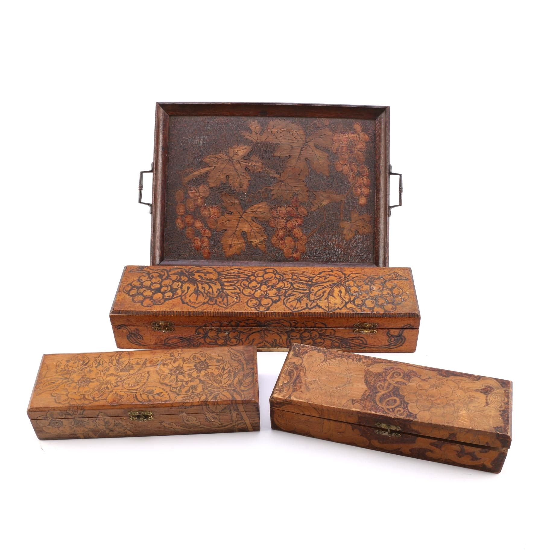 Early 20th Century Pyrography Boxes and Trays