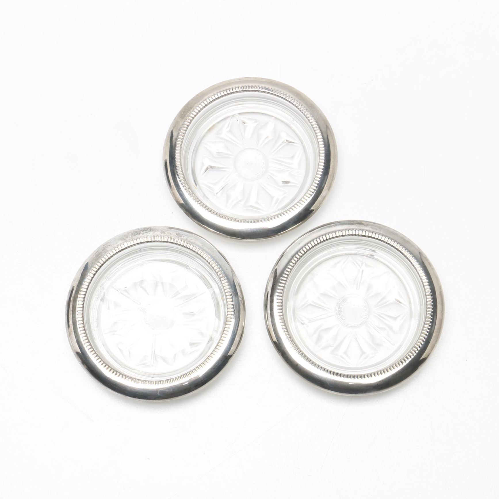 Glass Coasters With Silver Tone Rims