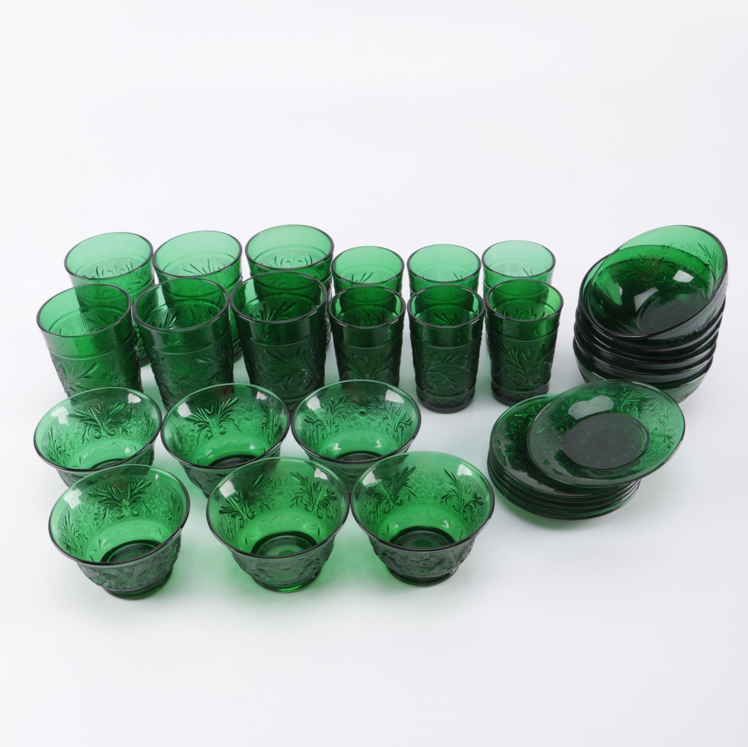 Green Pressed Depression Glassware