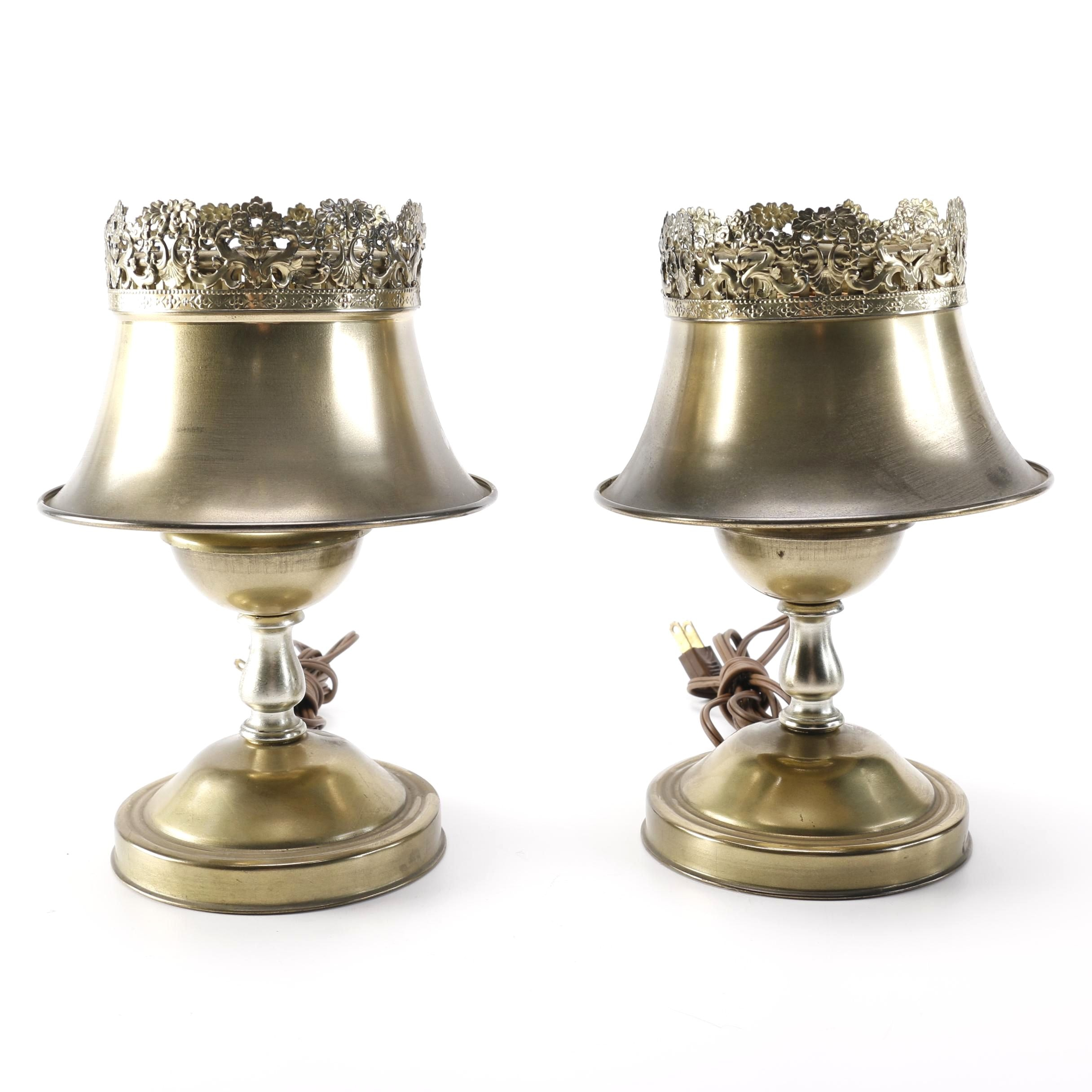 Pair of Vintage Metal Lamps With Brass Shades