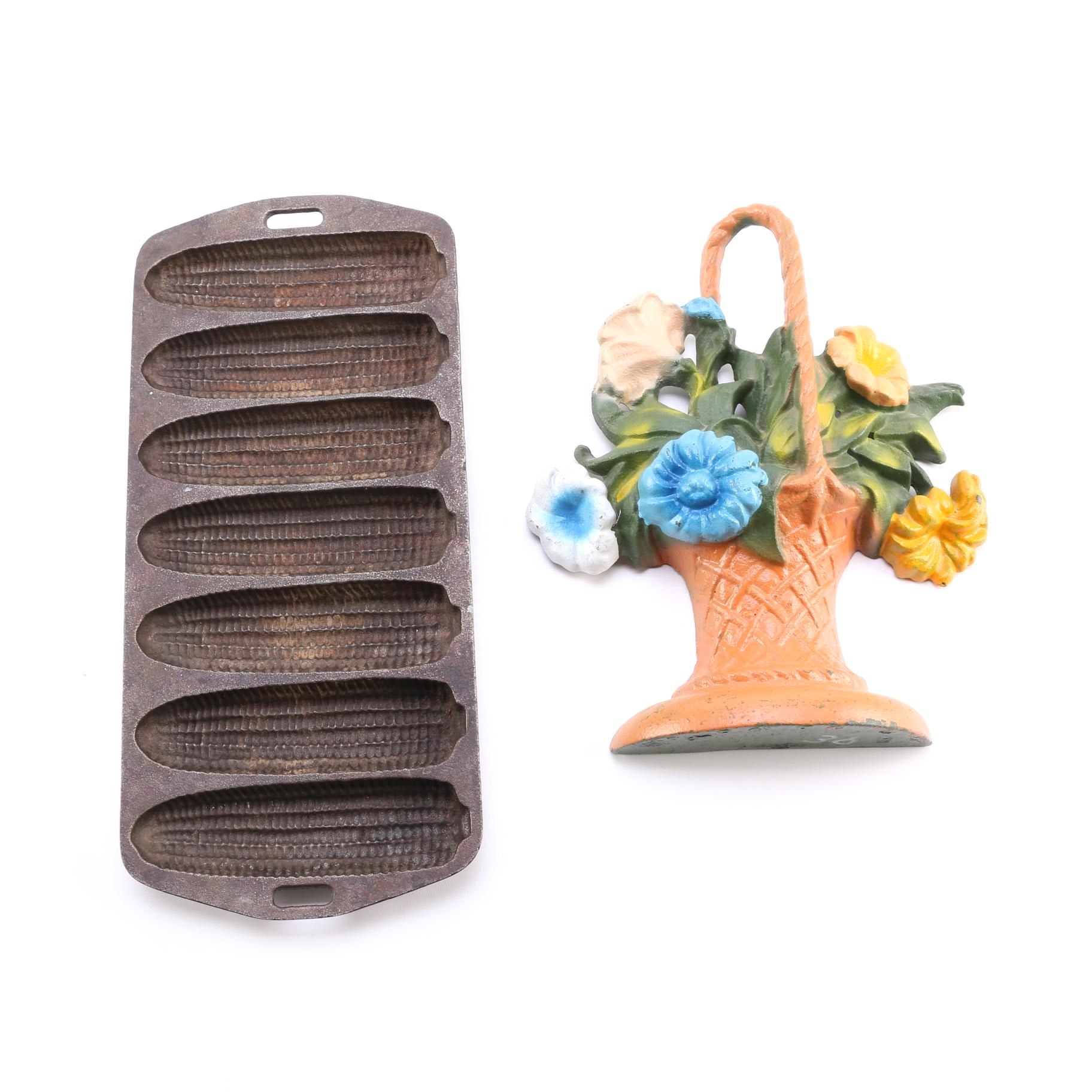 Vintage Cast Iron Corn Bread Pan and Painted Doorstop