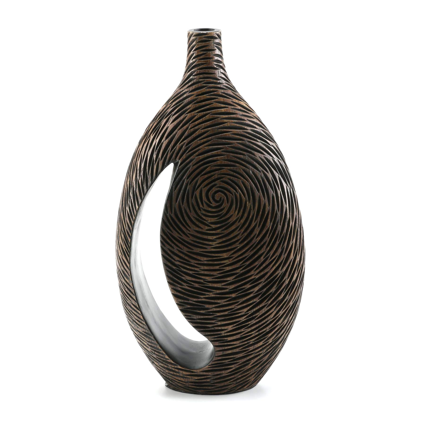 Ceramic Vase Carved in the Appearance of Wood