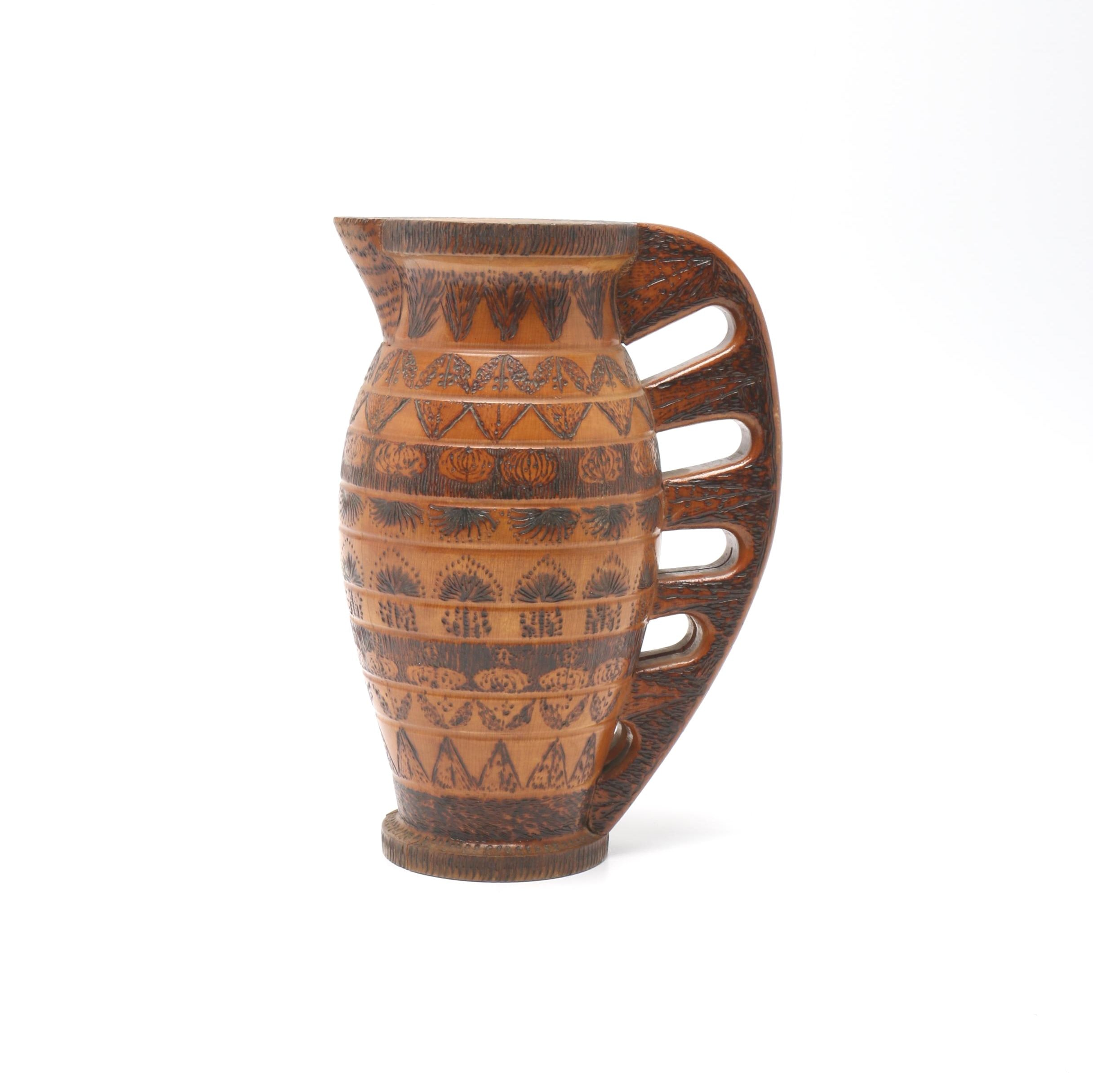 Carved Wood Pitcher