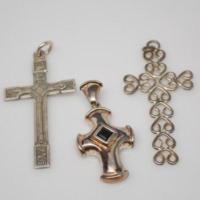 Three Sterling Silver Cross Pendants