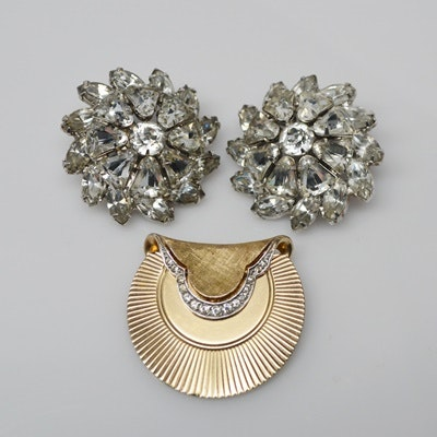 Vintage Weiss Rhinestone Clip-On Earrings and Boucher Brooch