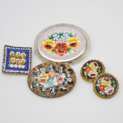 Three Vintage Mosaic Brooches and Clip-On Earrings