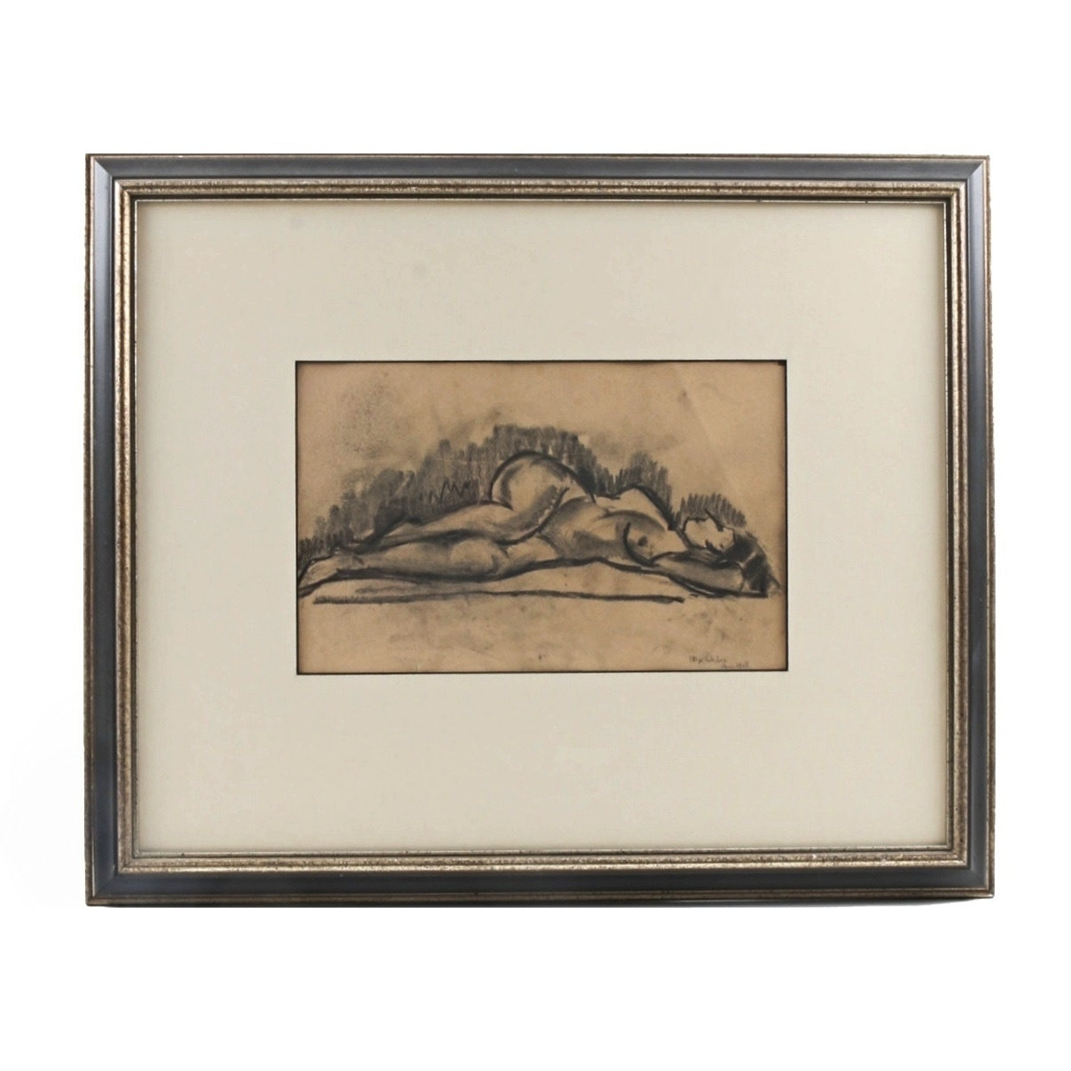"""Max Weber Charcoal Drawing on Paper """"Paris, Reclining Nude"""""""