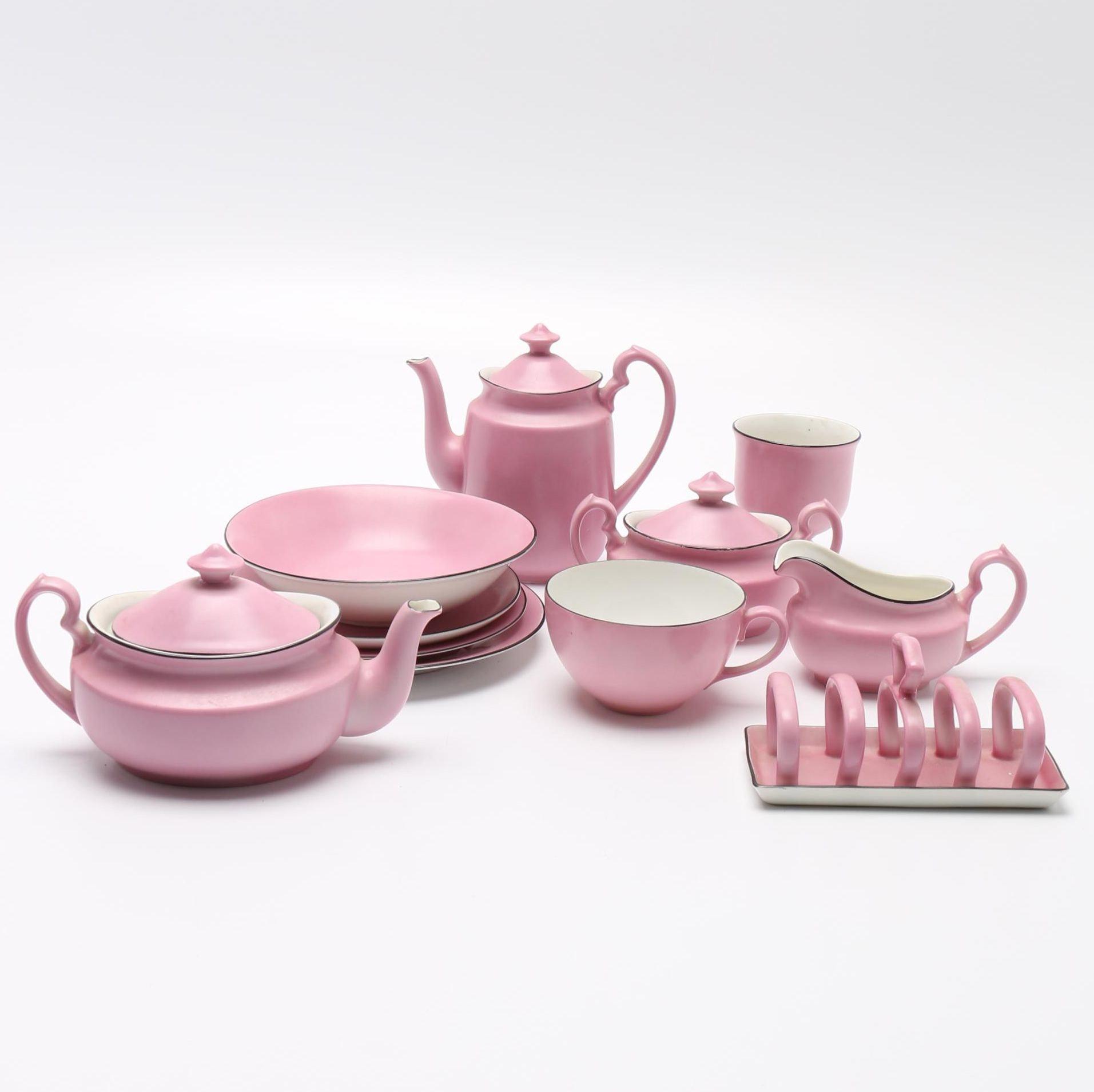 Pink Porcelain Breakfast Set From Czechoslovakia