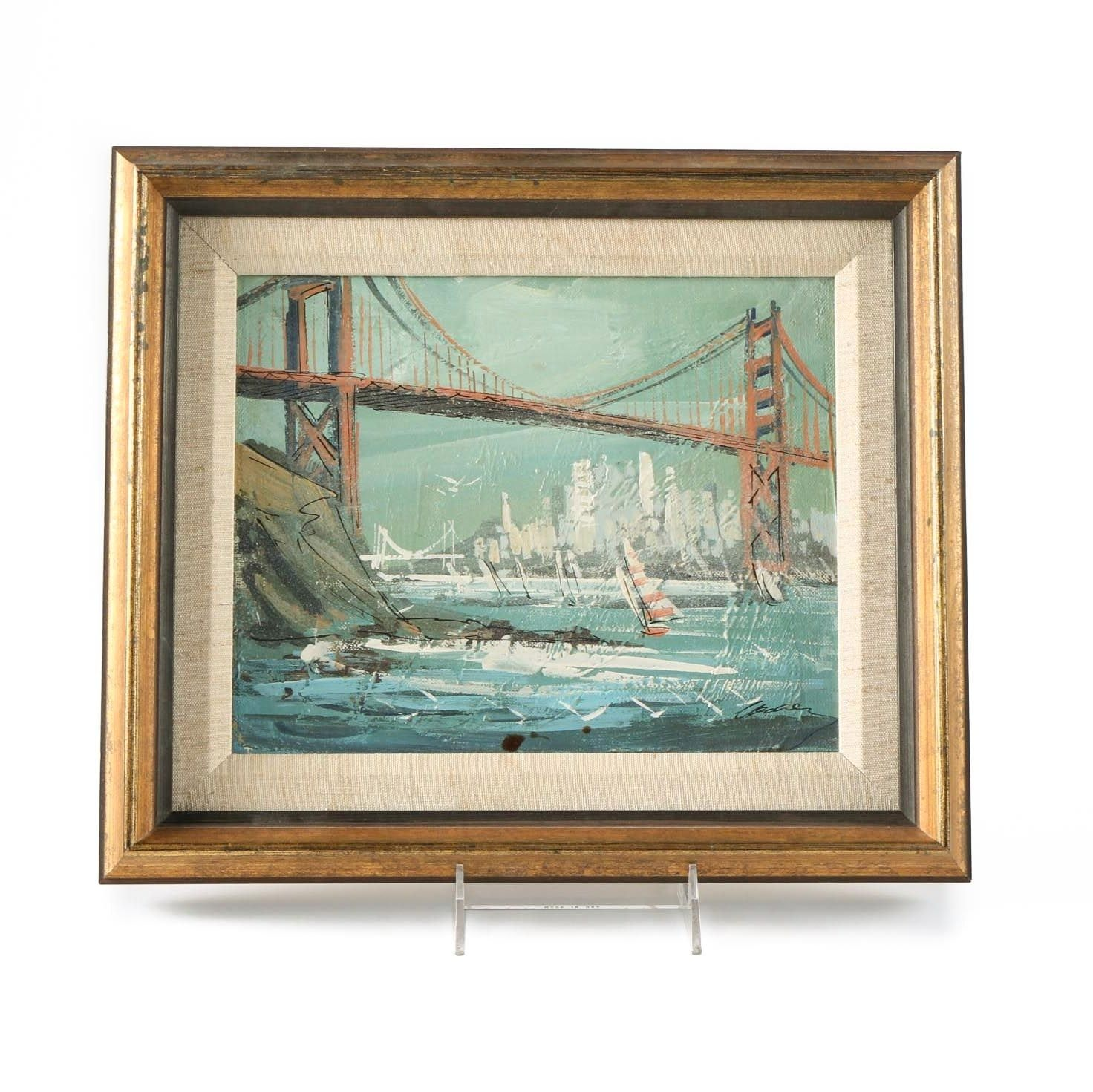 Oil Painting on Board of the Golden Gate Bridge