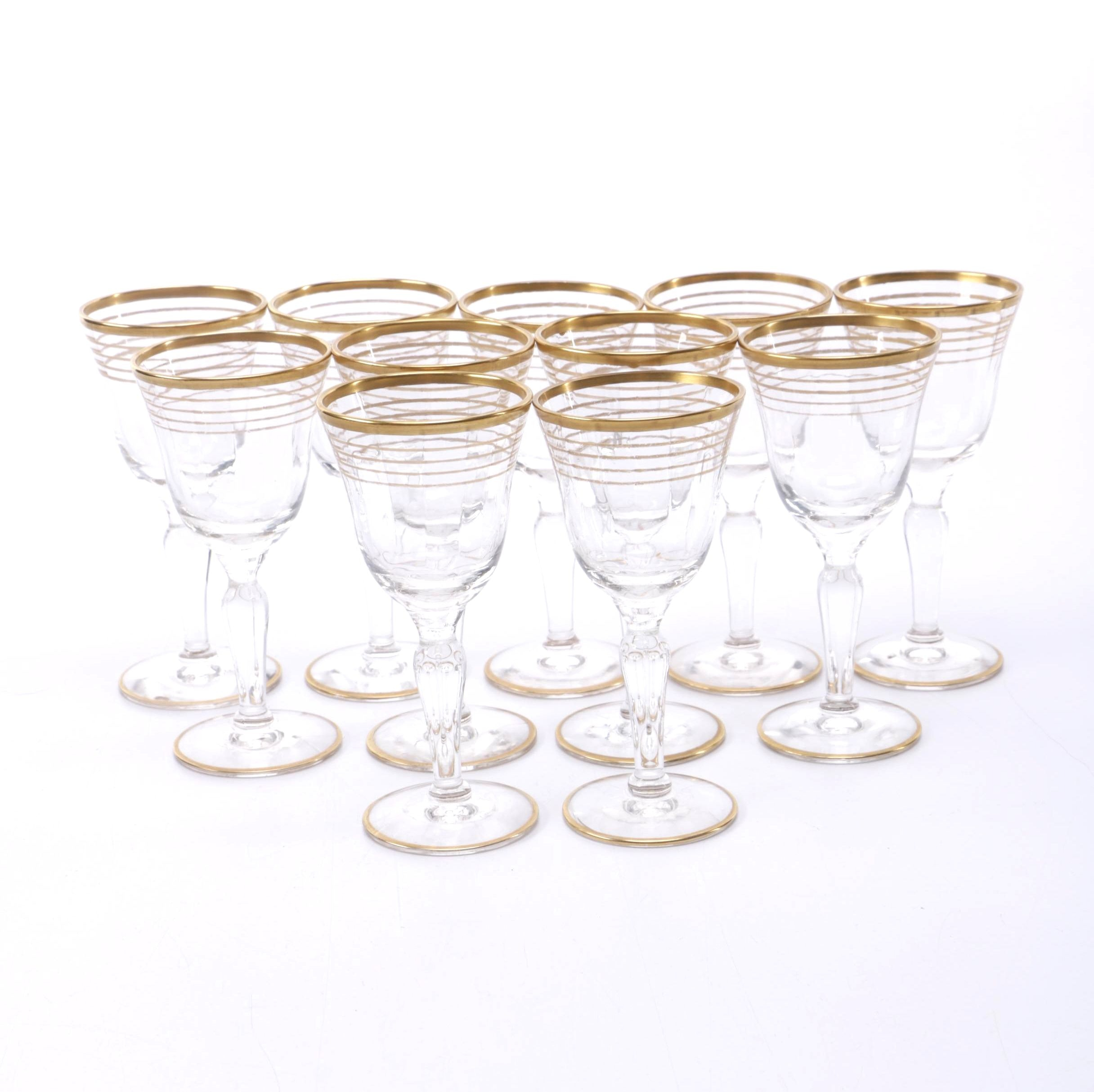 Gold Rimmed Cordial Glasses