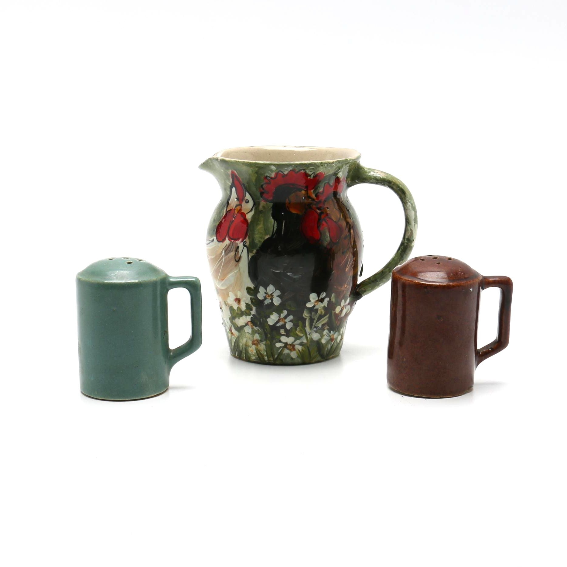 Stoneware Pitcher and Salt and Pepper Shakers