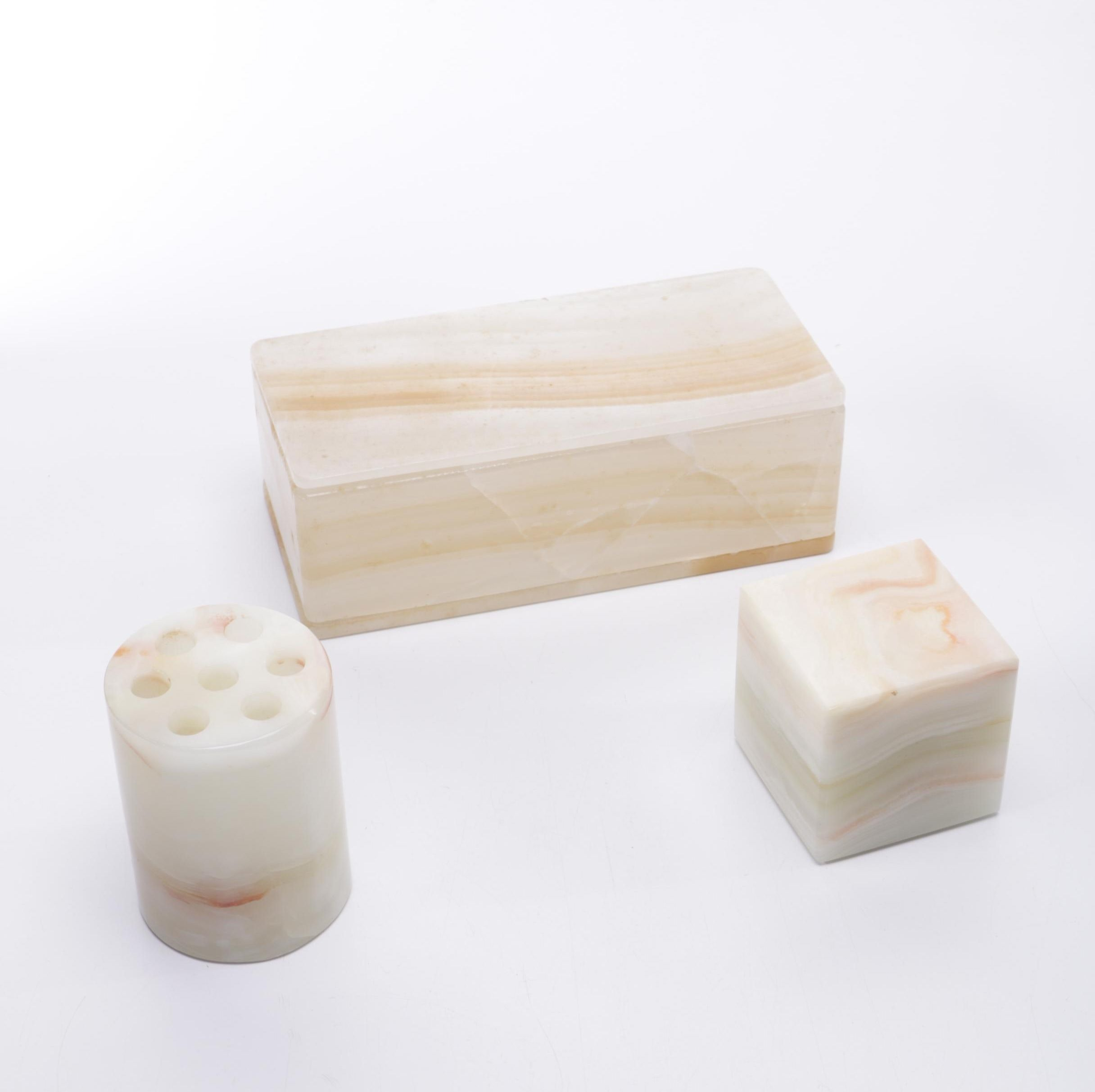 Agate Stone Desk Set
