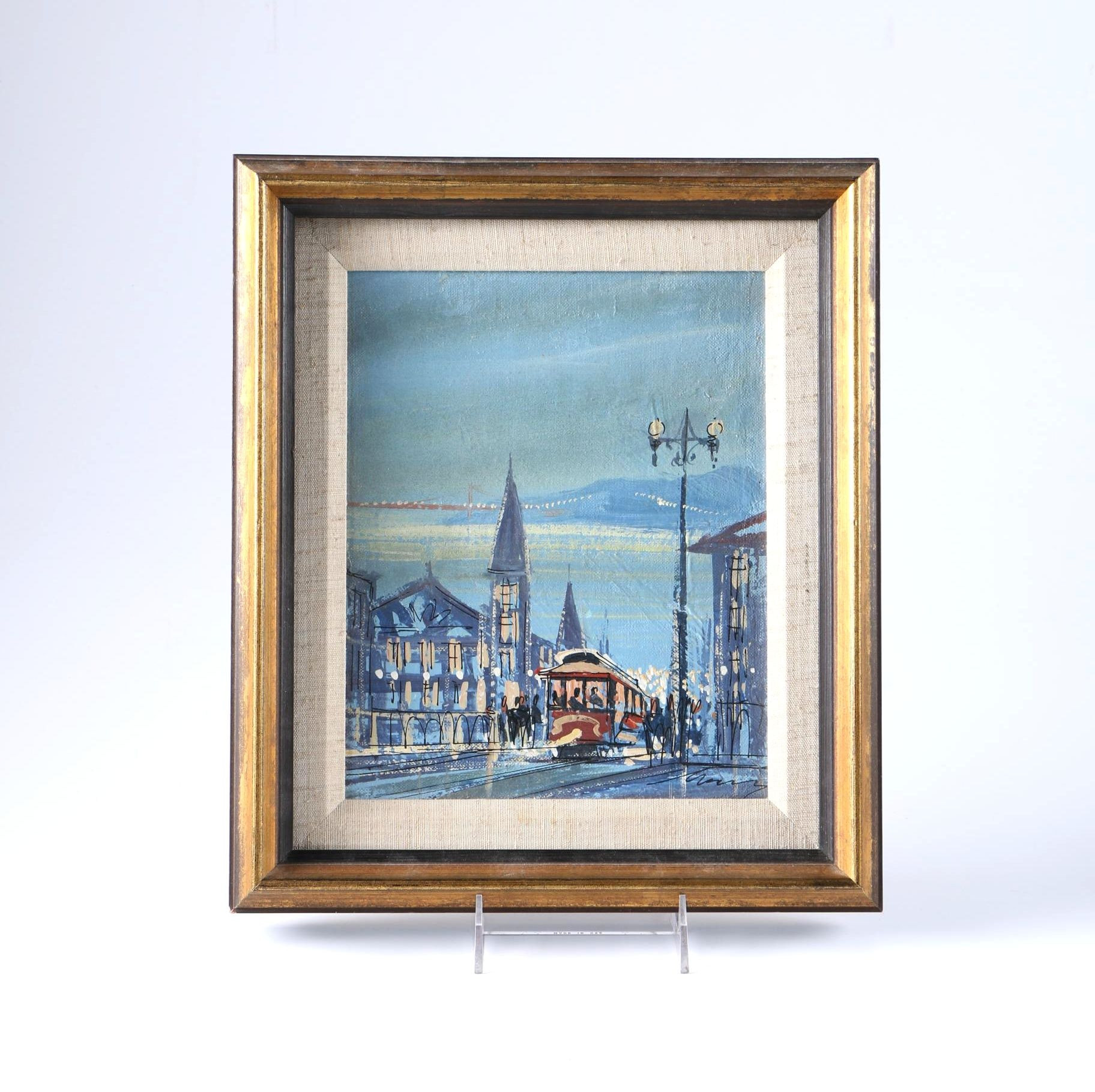 Oil Painting on Board of San Francisco Street Scene at Night