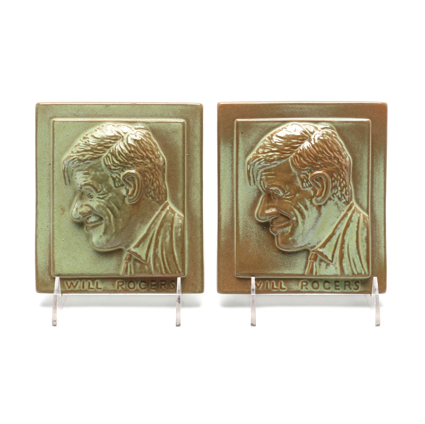 Circa 1935 Frankoma Will Rogers Tile Plaques