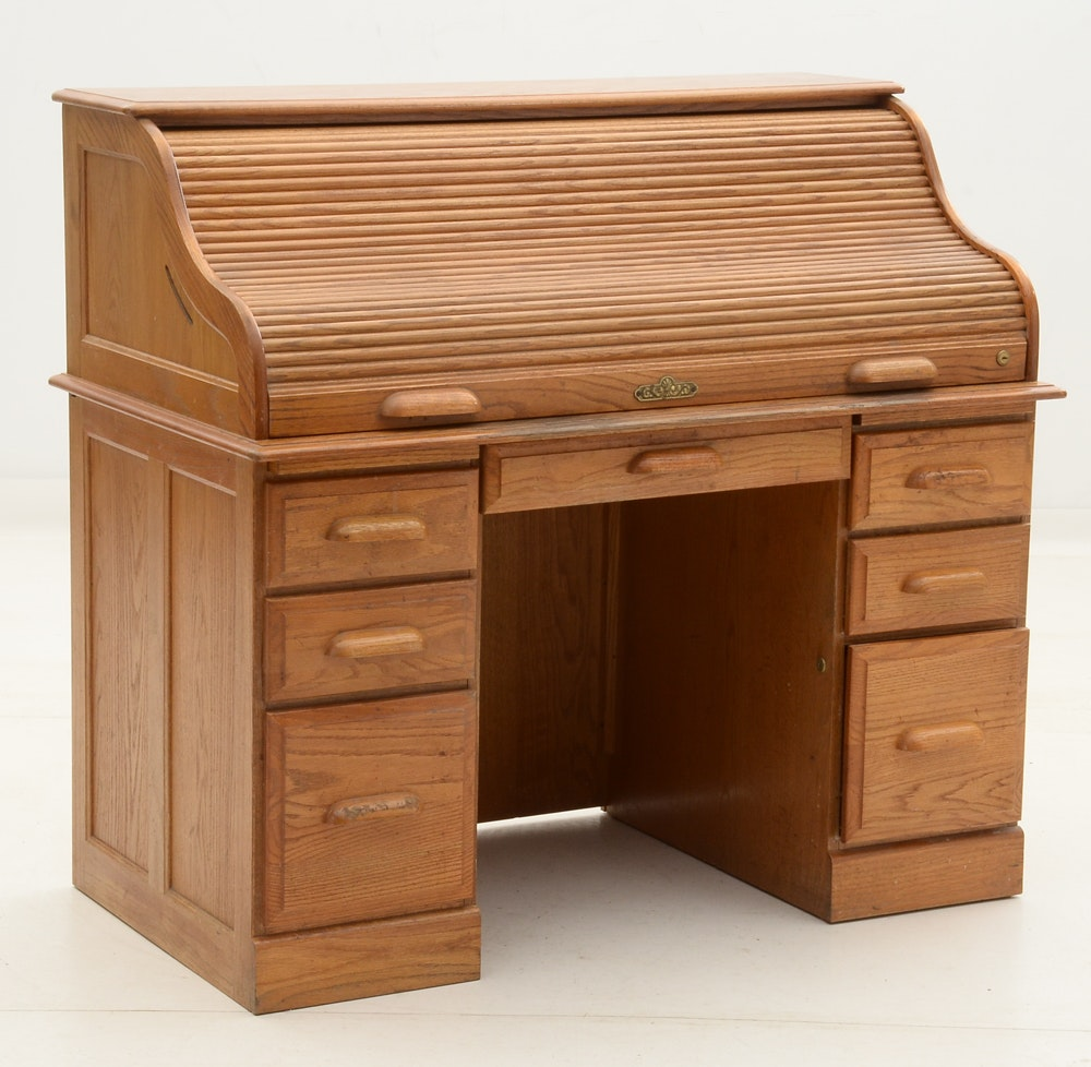 Oak Roll Top Tambour Desk Ebth