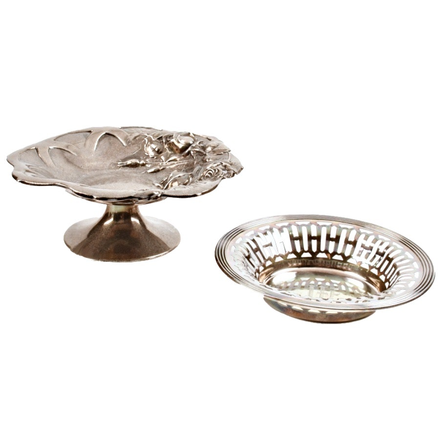 "Sterling Silver Pierced Dish and Footed ""Rose"" Compote"