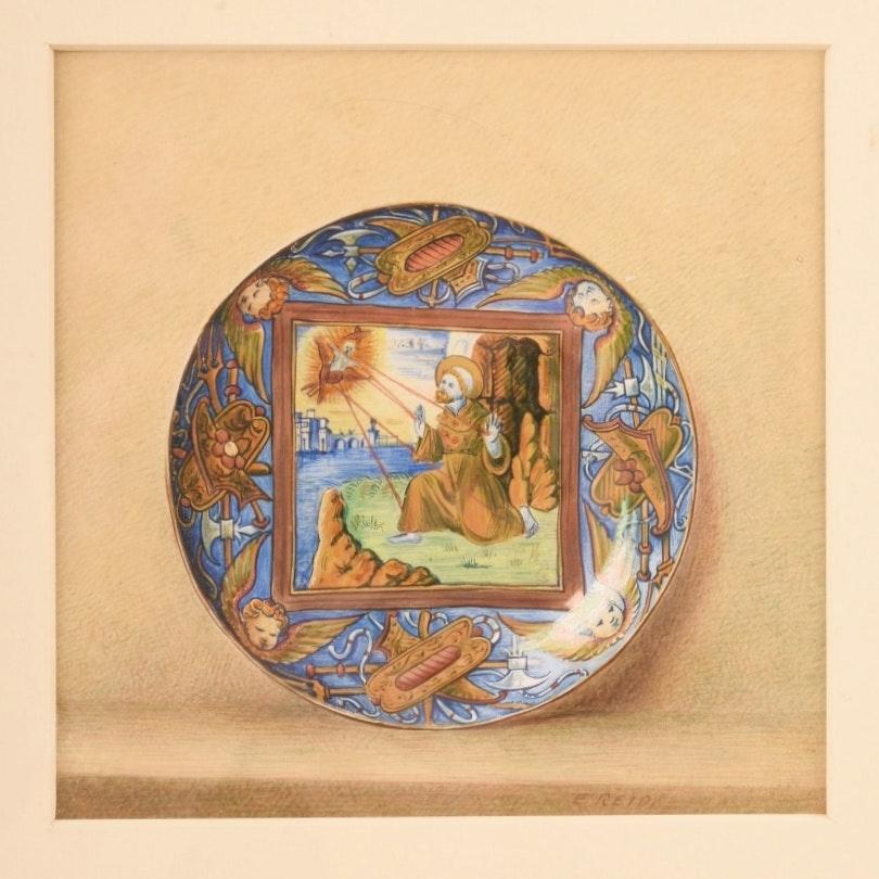 "Circa 1882 Emily Reid Original Gouache ""St. Francis"" Plate"