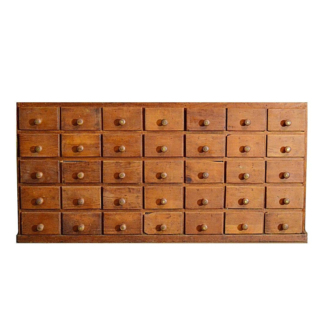 Antique Pine Jeweler's Cabinet