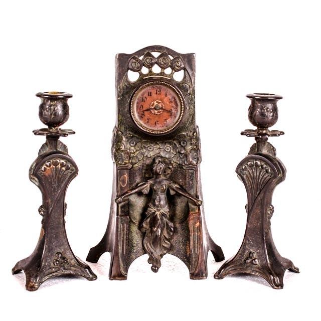 Bronze Art Nouveau Period Mantel Clock and Matching Candle Sticks
