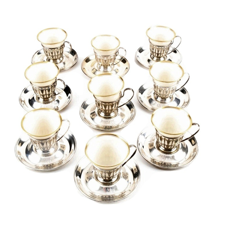 Set of Eight Lenox Demitasse Cups in Gorham Sterling Silver