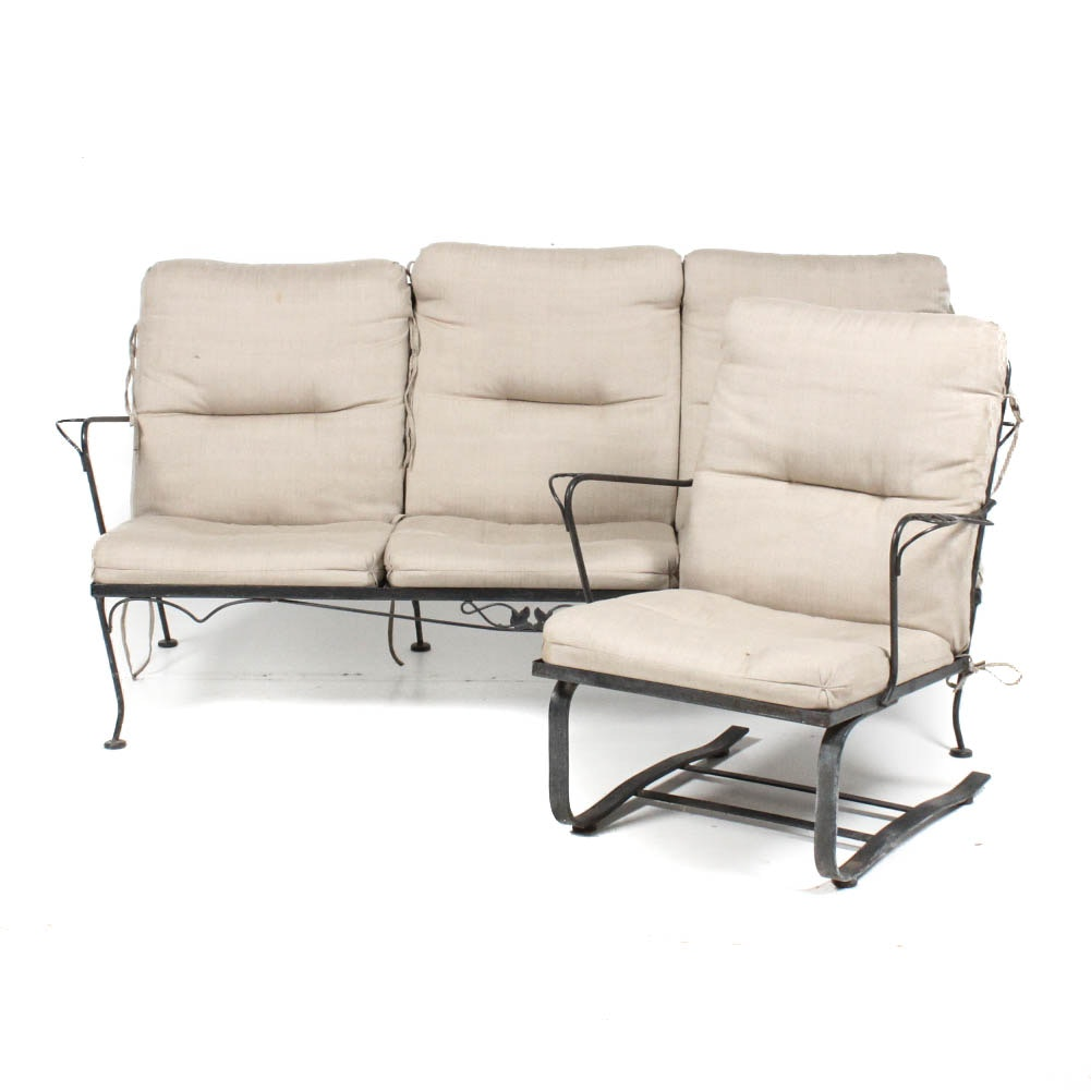 Wrought Iron Patio Sofa and Chair