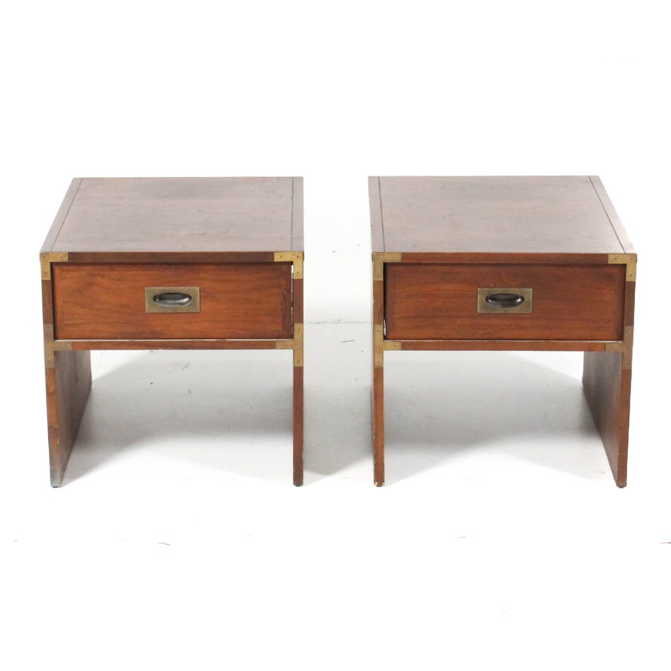 Pair Of Vintage Campaign Style Side Tables By Lane ...