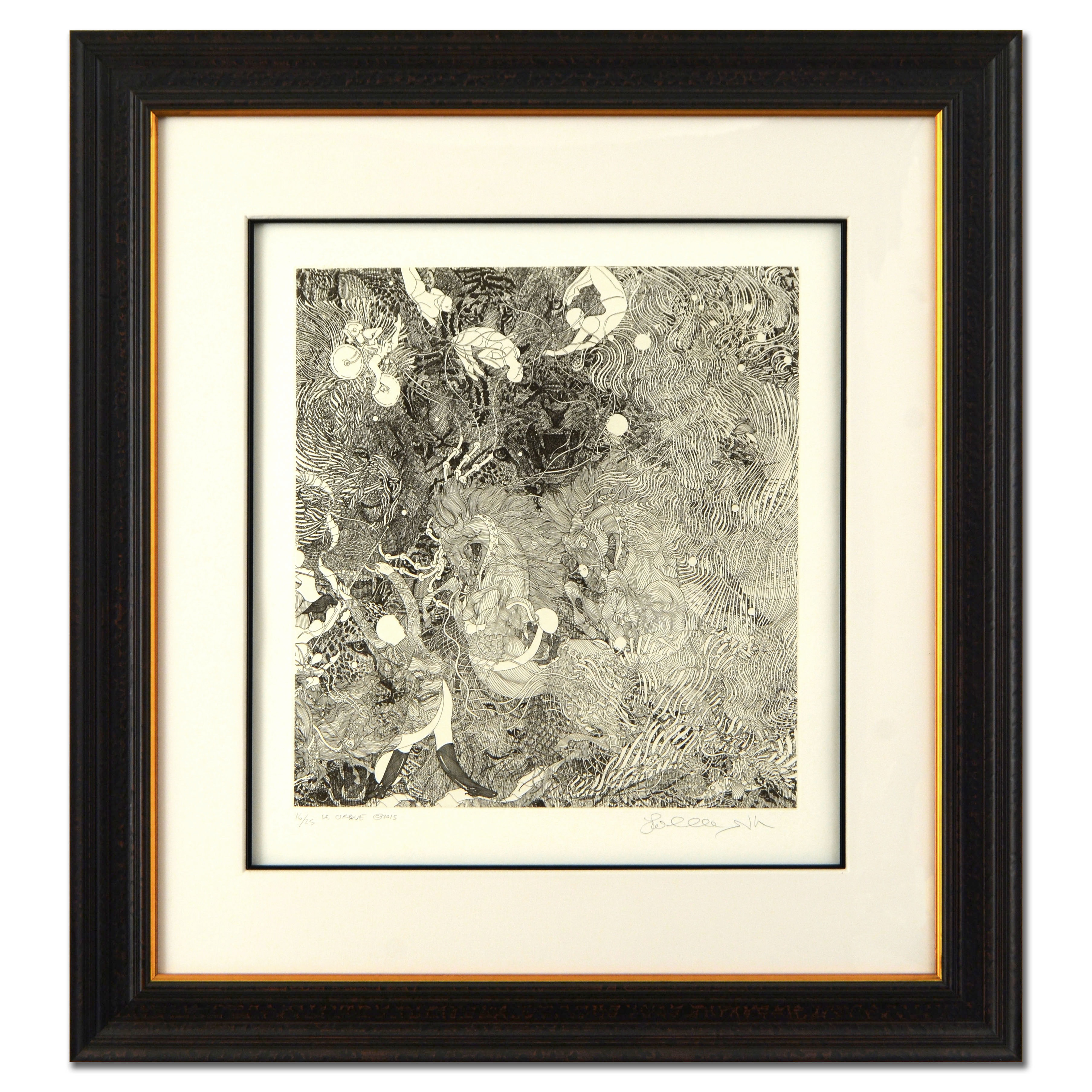 """Le Cirque"" Framed Limited Edition Etching by Guillaume Azoulay"