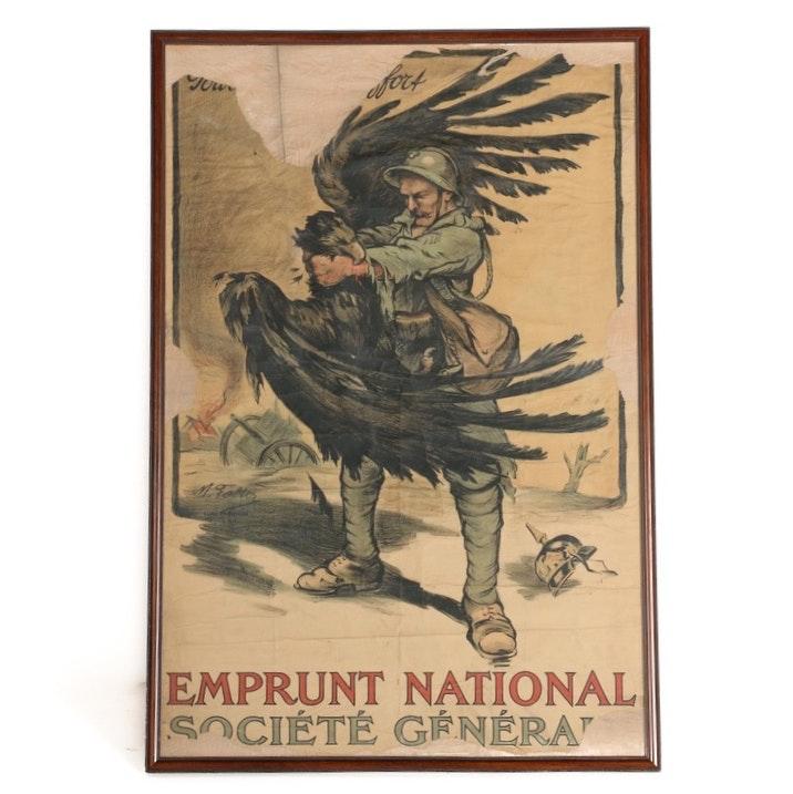"""Vintage World War I Era Lithograph Poster of """"Pour le Supreme Effort"""""""