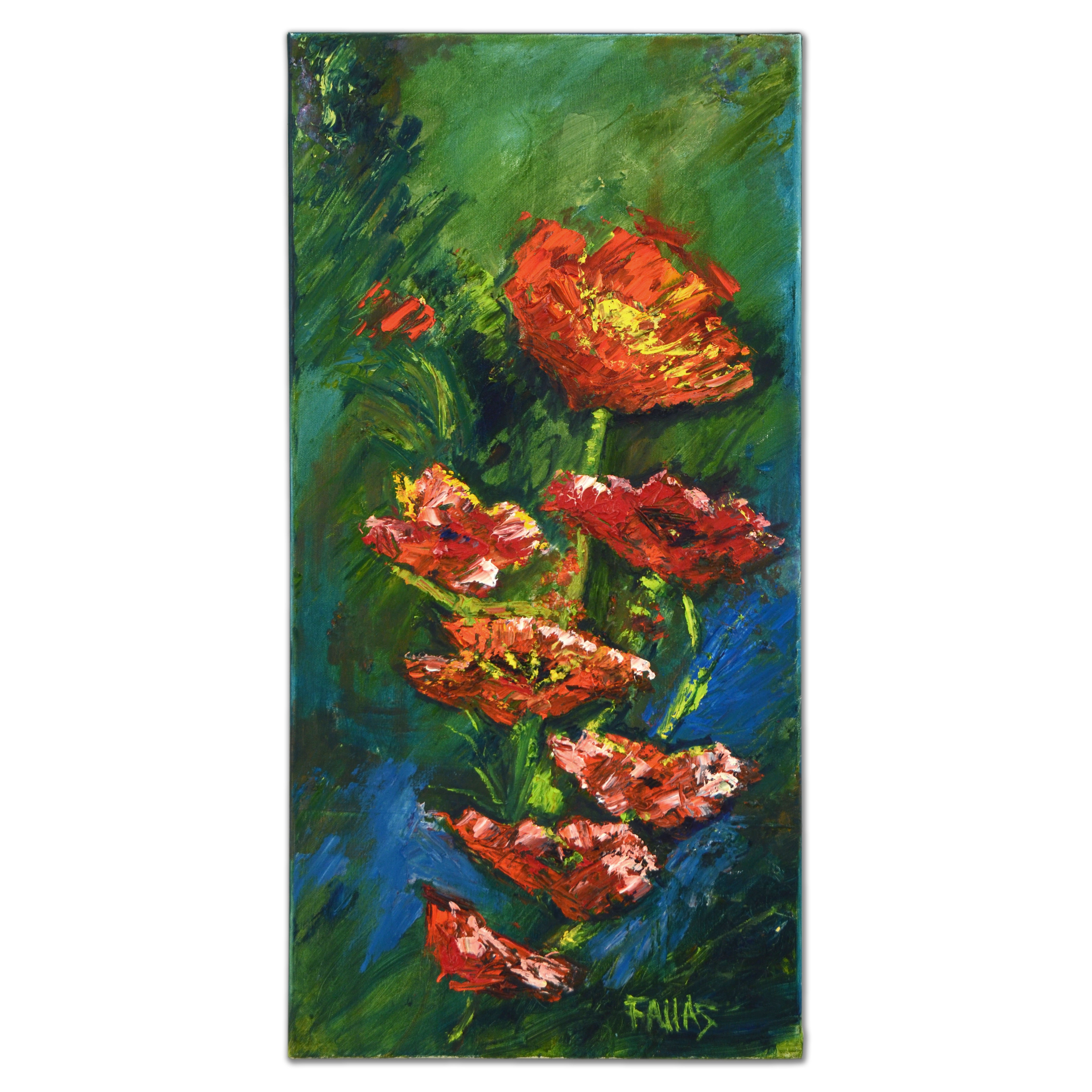"Elliot Fallas Original Oil Painting ""Poppies in Red"""
