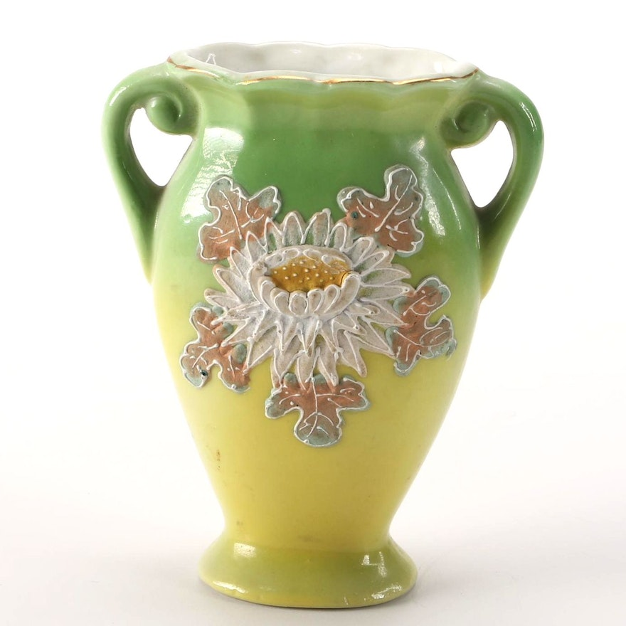 Decorated Green And Yellow Vase Made In Occupied Japan Ebth
