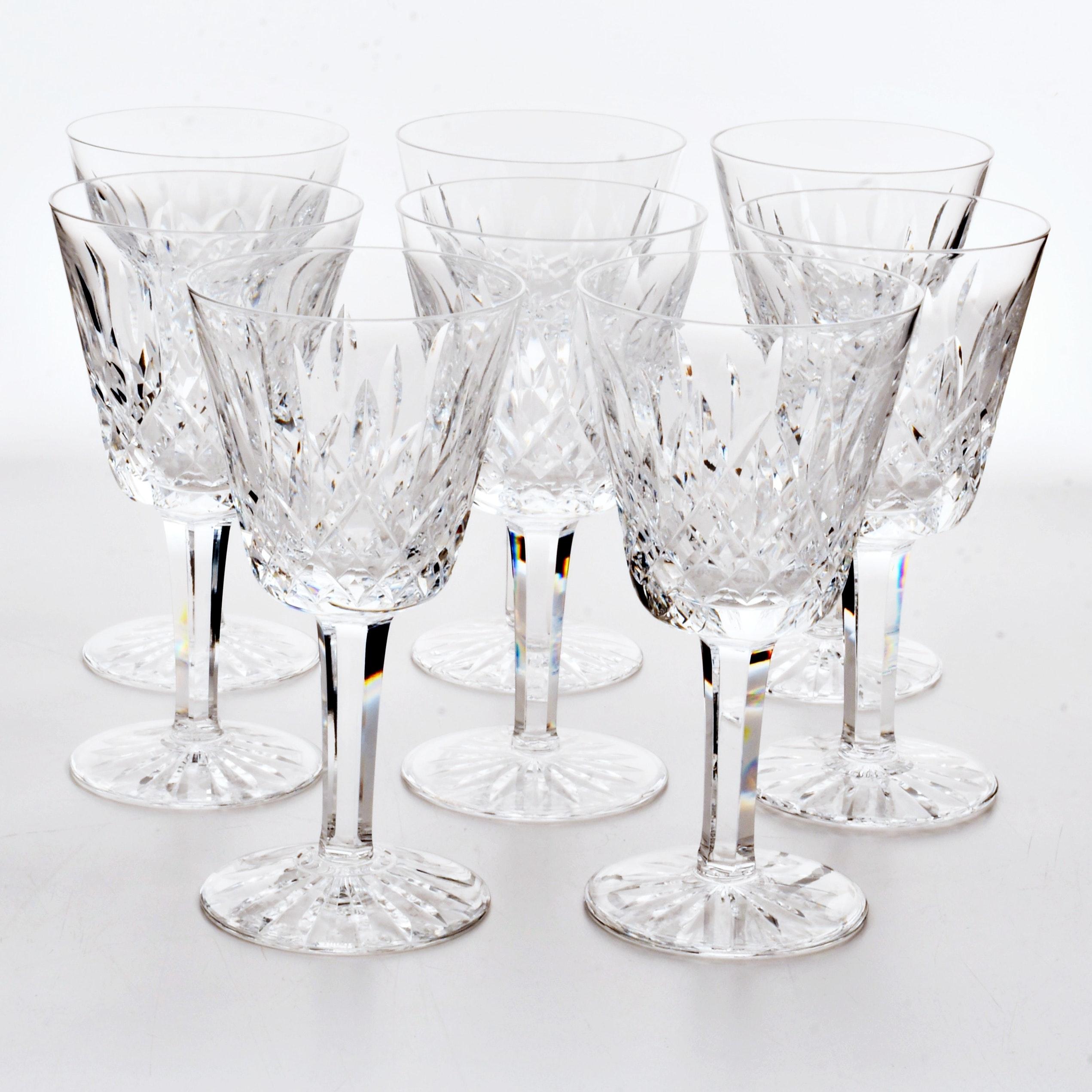 "Set of Eight Waterford ""Lismore"" White Wine Stemware"