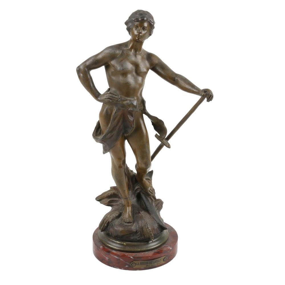 """""""La Moisson Est Abondante"""" Spelter Sculpture After Auguste Moreau"""