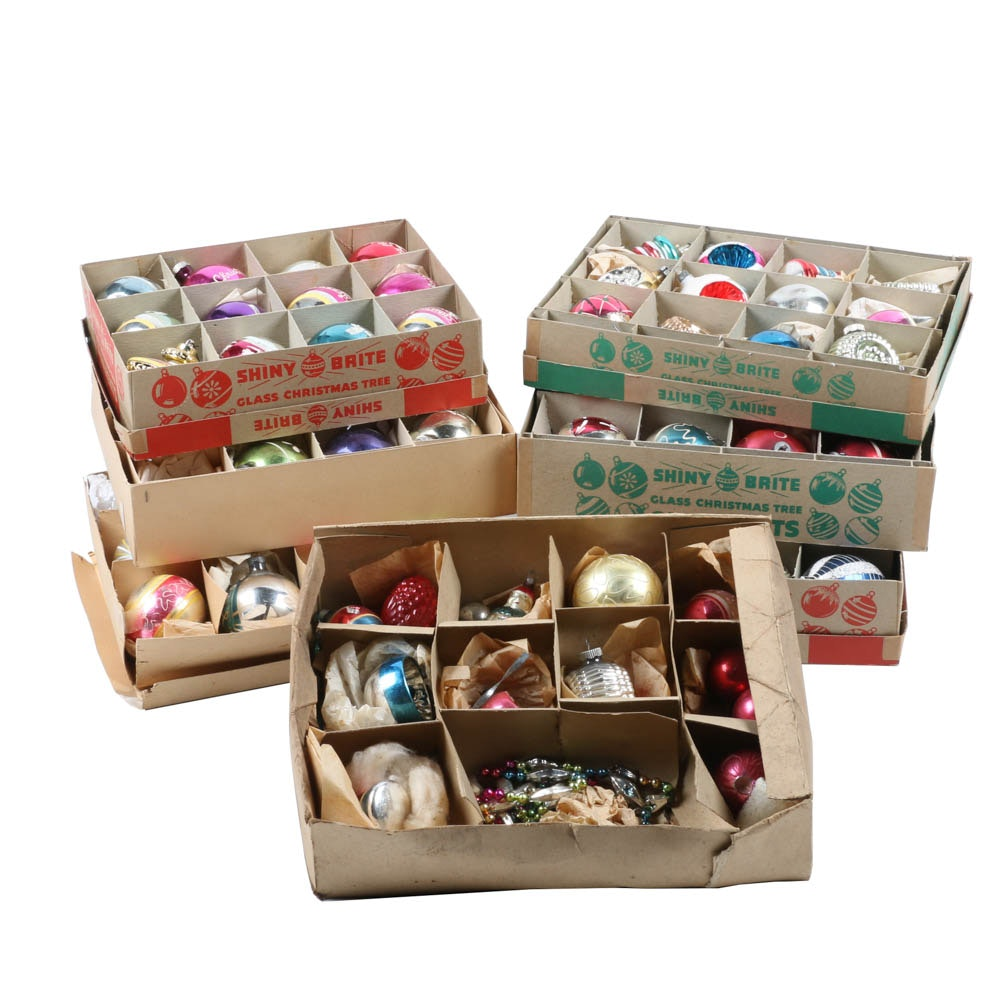 Dozens of Boxed Vintage Glass Ornaments