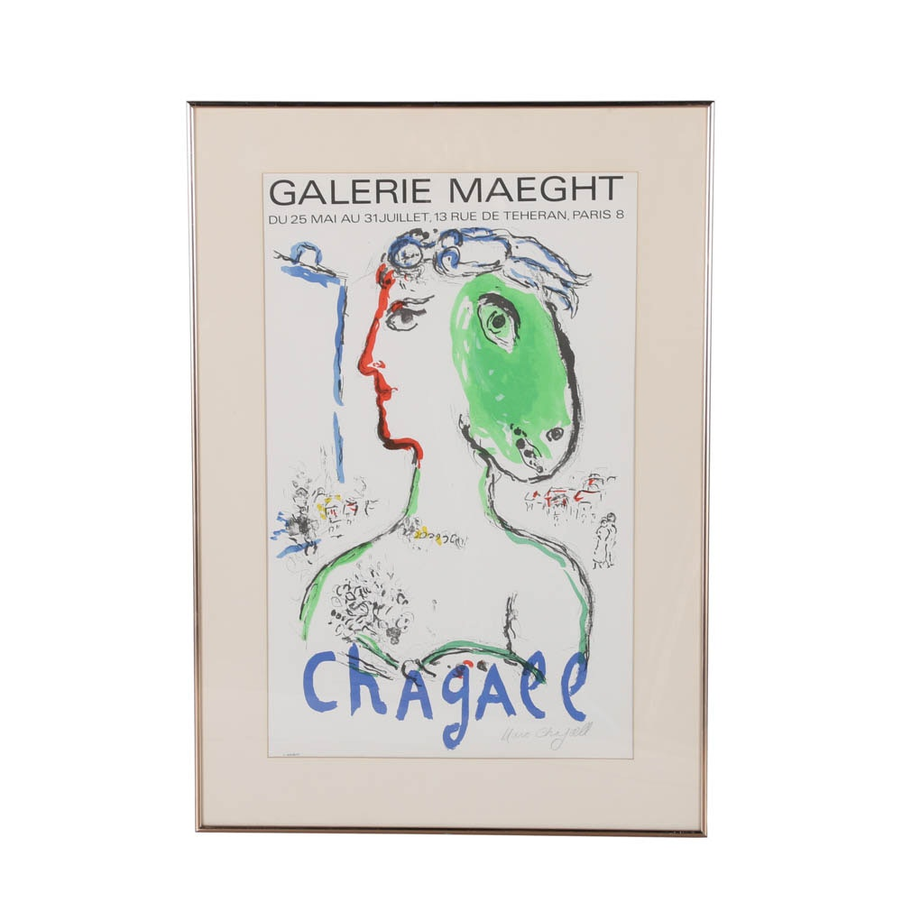 Vintage 1972 Chagal Paris Exhibition Poster, Signed by the Artist