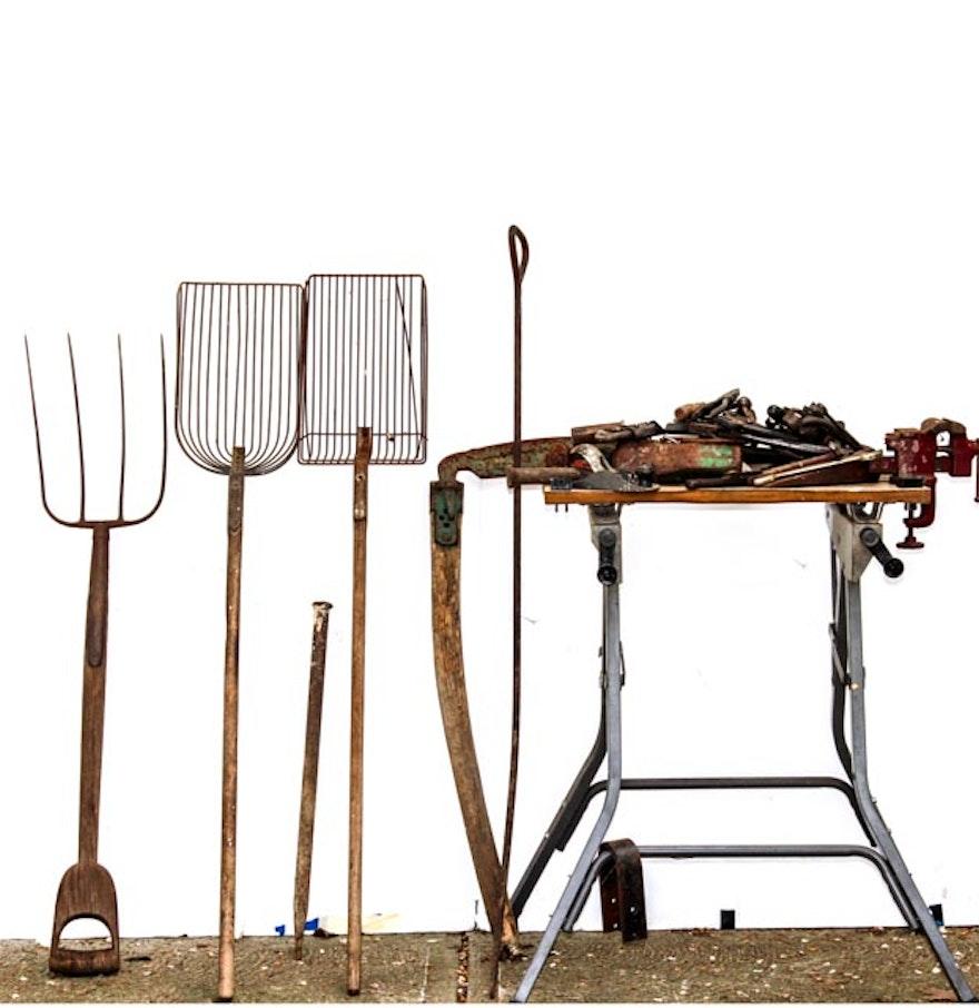 Vintage potato shovels scythe pitchfork tools and for Pitchfork tool for sale