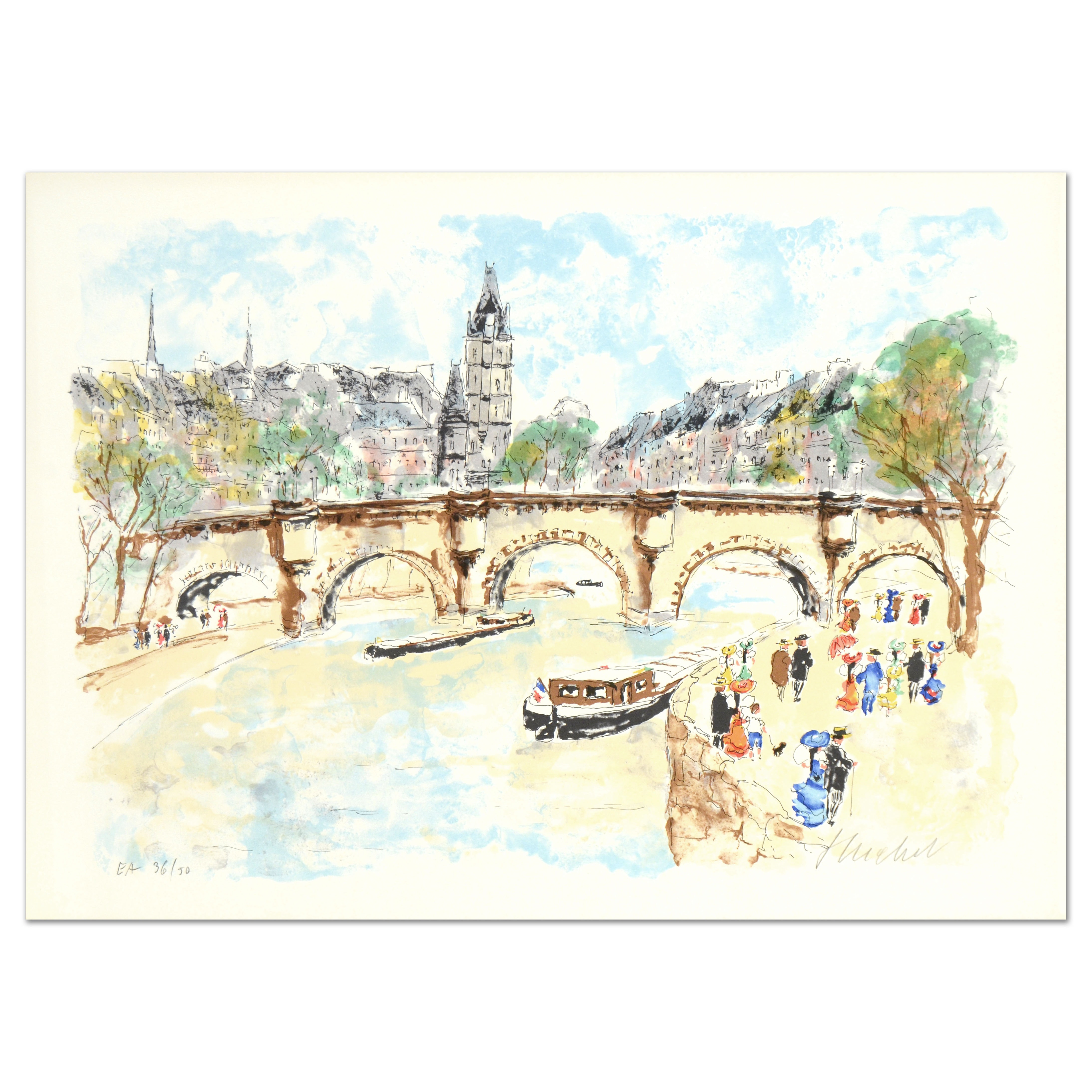 "Urbain Huchet ""Seine"" Limited Edition Lithograph on Paper"