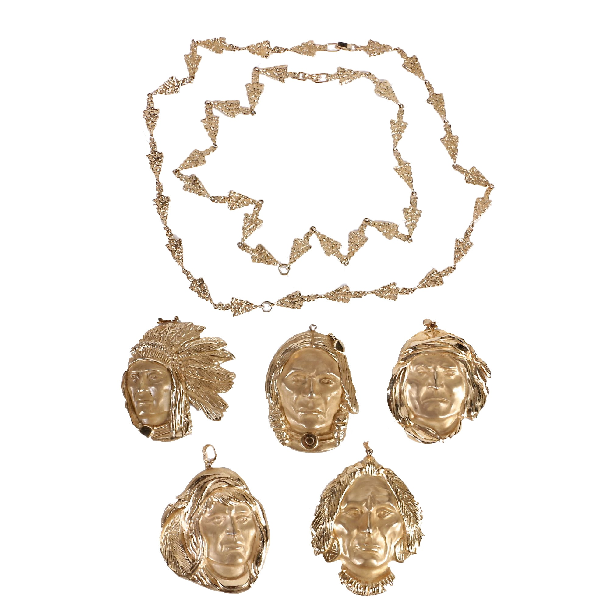 335.00 DWT 14K Yellow Gold Limited Edition Native American Figure Jewelry Set by James Hutchinson for Jewelmasters, Inc.