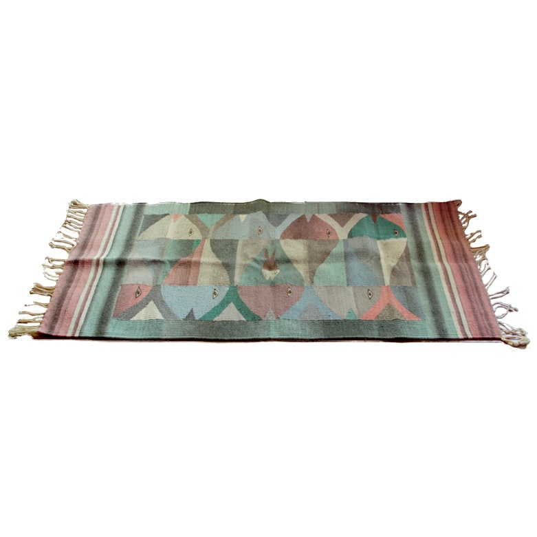 Handwoven Area Rug with Fish Motif