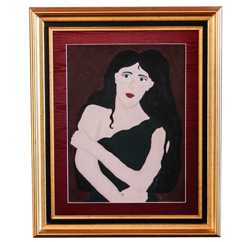 E. Miklas Painting of a Dark Haired Woman