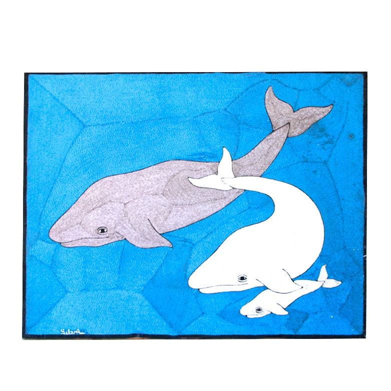 Whale Family Embroidered Art