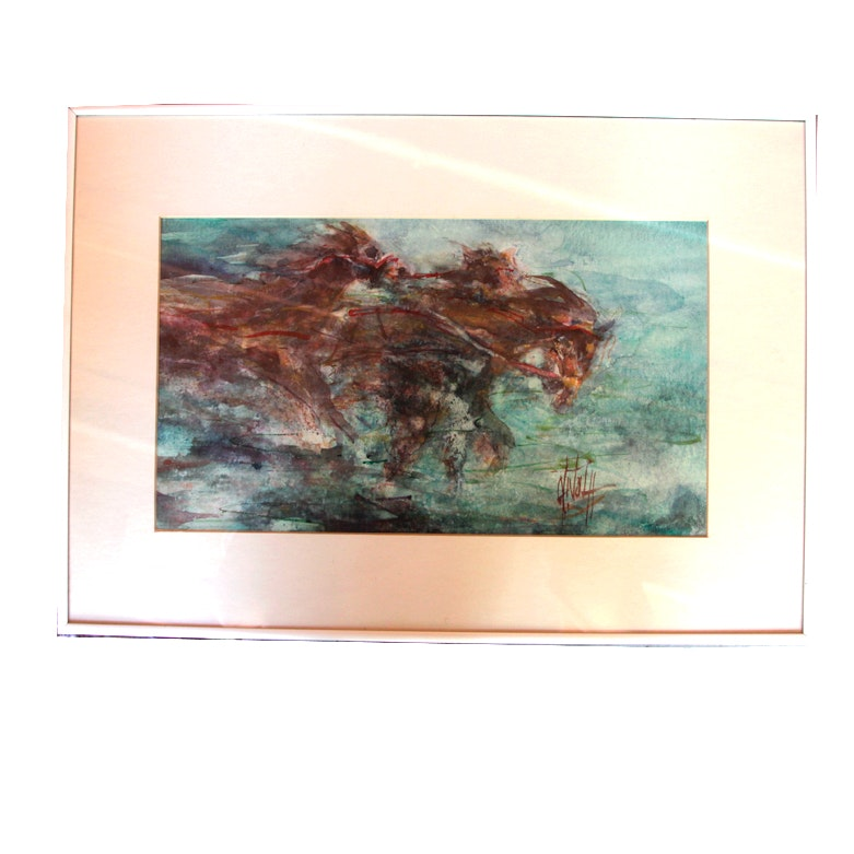 Watercolor on Paper of Running Horses