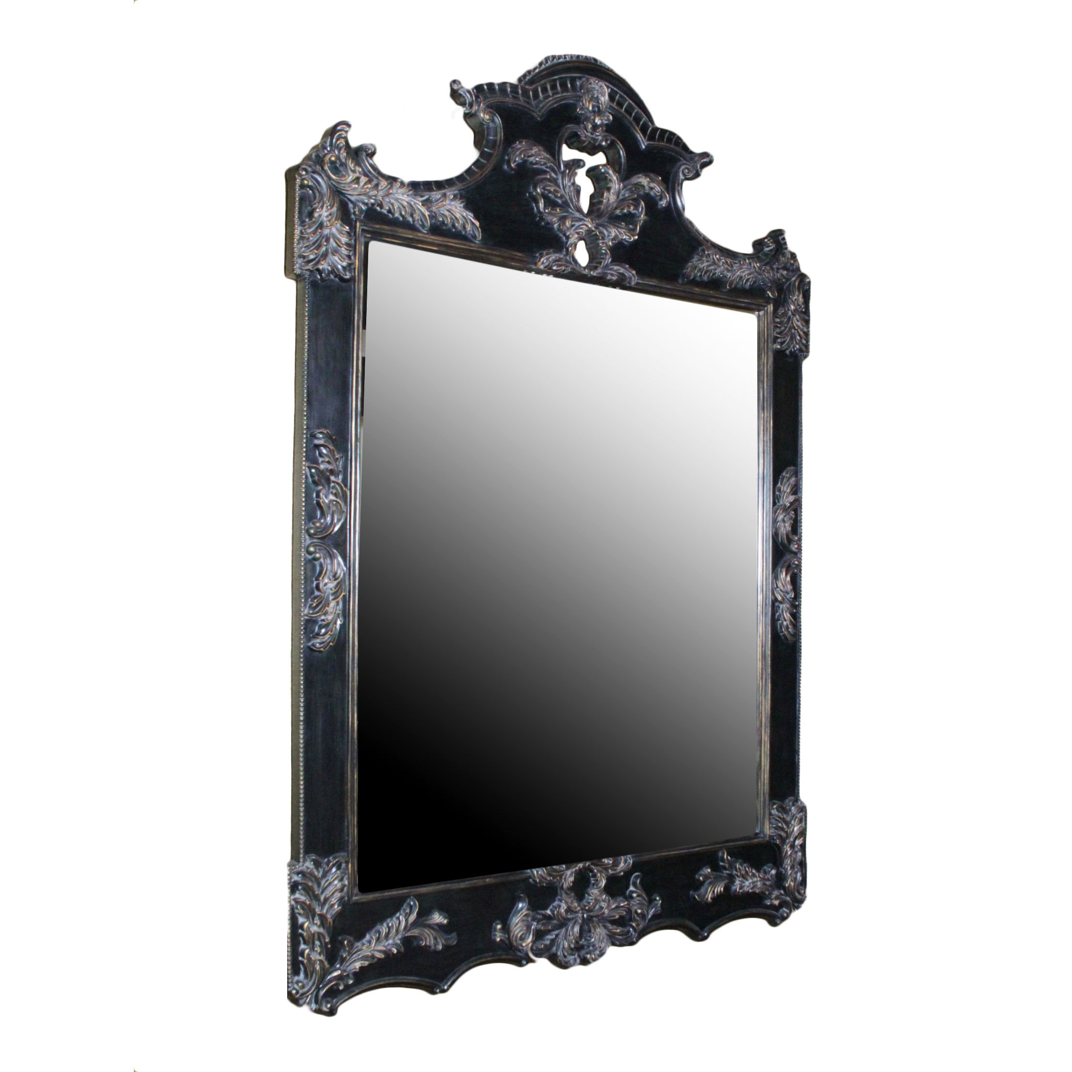 Large Framed Beveled Glass Wall Mirror