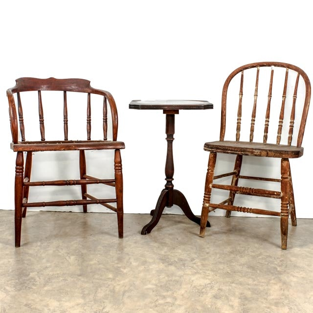 Pair of Antique Bentwood Tavern Dining Chairs with Table