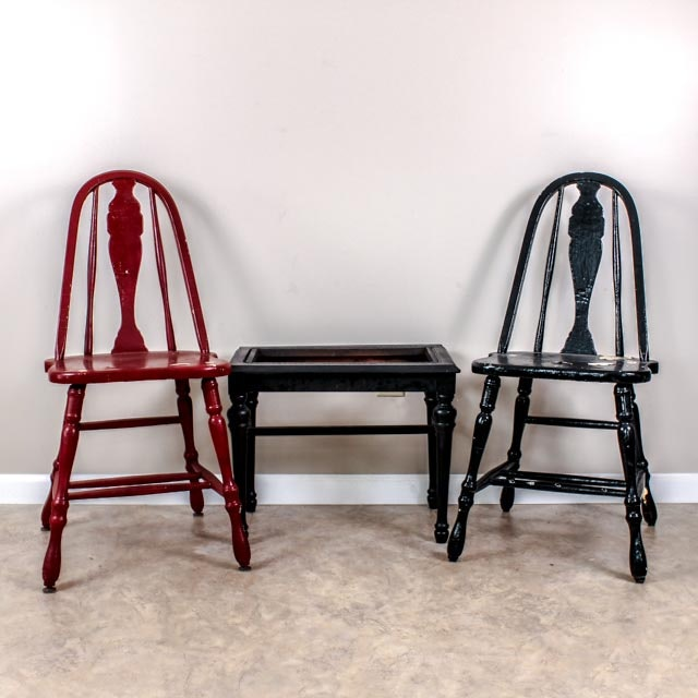 Antique Project Chairs and Table