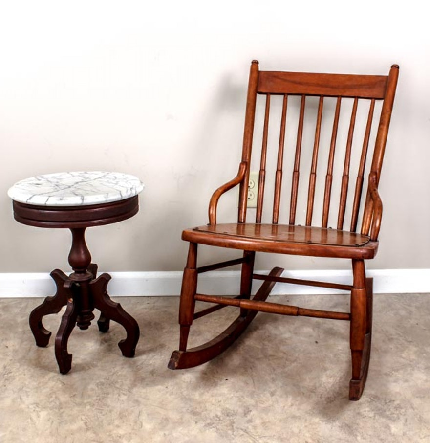 Antique sewing rocking chair - Vintage Sewing Rocker With Small Marble Table