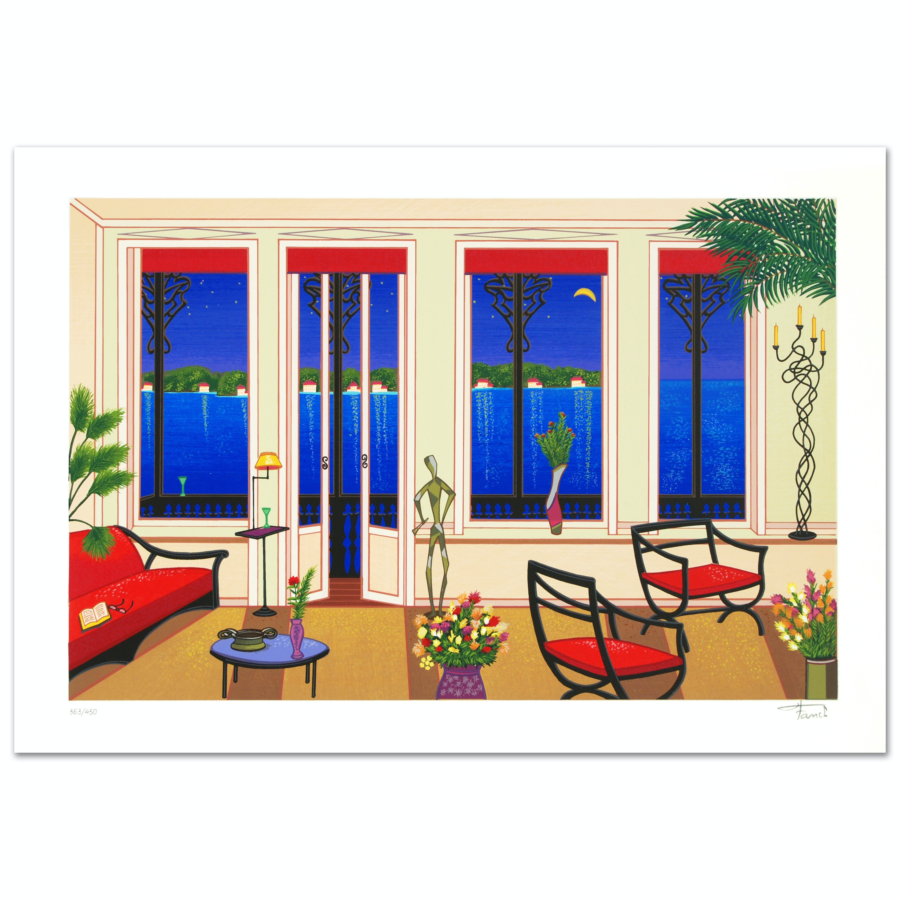 """Balcony Over Bahia"" Limited Edition Serigraph By Fanch Ledan"